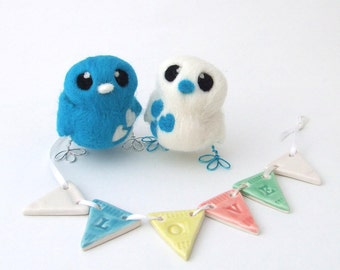 Bird Wedding Cake Topper Bright Turquoise and White Love Birds Tweet Needle felted Birds