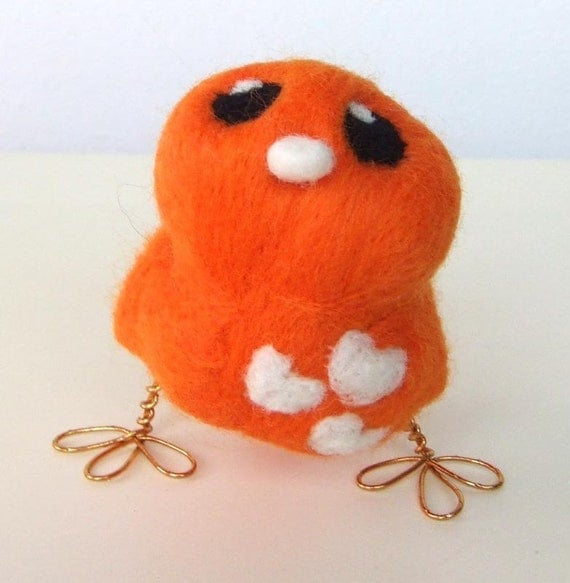 Silly Sale Half Price Sunny Etsy Coloured Tweet Bright Orange and White Needlefelted Bird