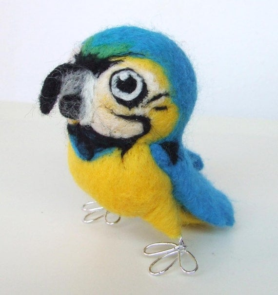 Squawk Blue and Gold Macaw Needle Felted Bird