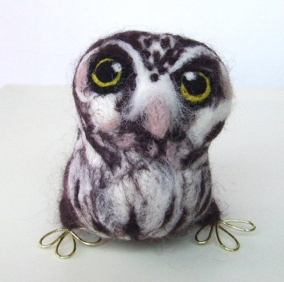 Sale Needlefelted Owl Tengmalm's Owl In Chocolate Brown and White