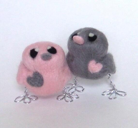 Bird Wedding Cake Topper His 'n' Hers Teeny Tweets In Grey And Pink