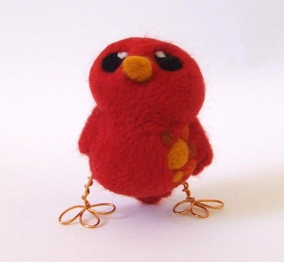 Sale Needle Felted Bird Rose Hip Lesser Spotted Tweet