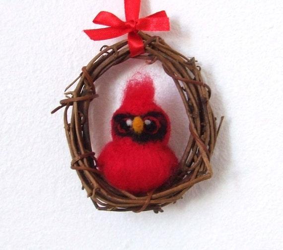 Sale Needle Felted Bird Cardinal Mini Wreath with Felt Bird