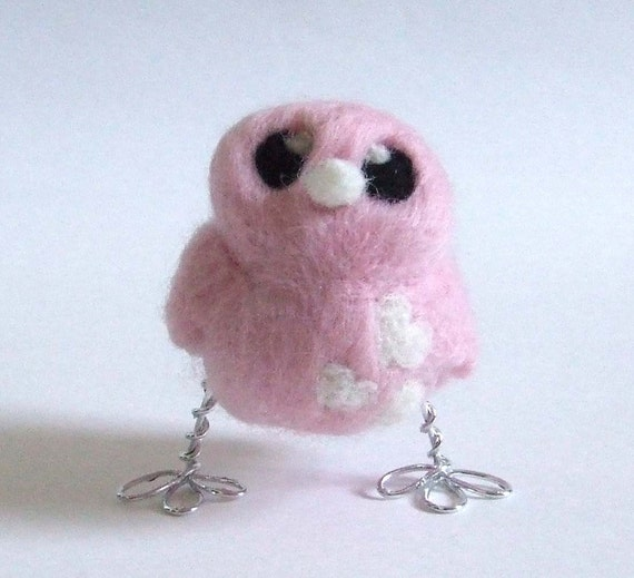 Needlefelted Bird Valentines Pale Pink Teeny Weeny Ickle Tiny Love Bird