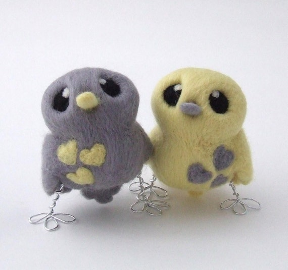 Bird Wedding Cake Topper Pale Grey and Lemon Butter Cream Yellow Love Birds