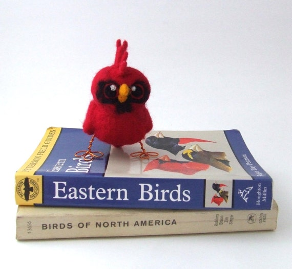 Sale Punky Red Cardinal Bird Needlefelted Wild Bird