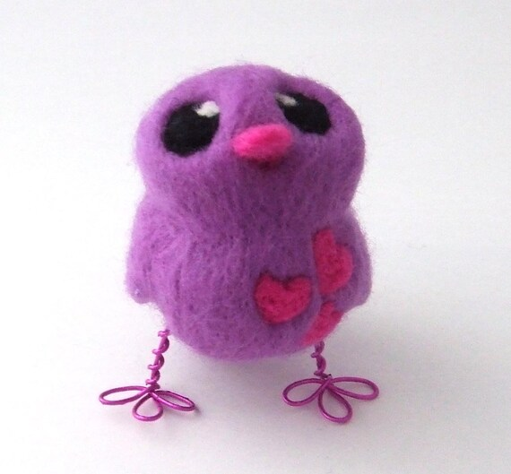 Sale Needle Felted Bird Purple and Hot Pink Love Bird Chick