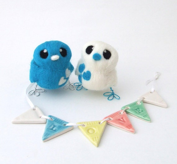 Bird Wedding Cake Topper Bright Turquoise and White Love Birds Tweet Needle felted Birds