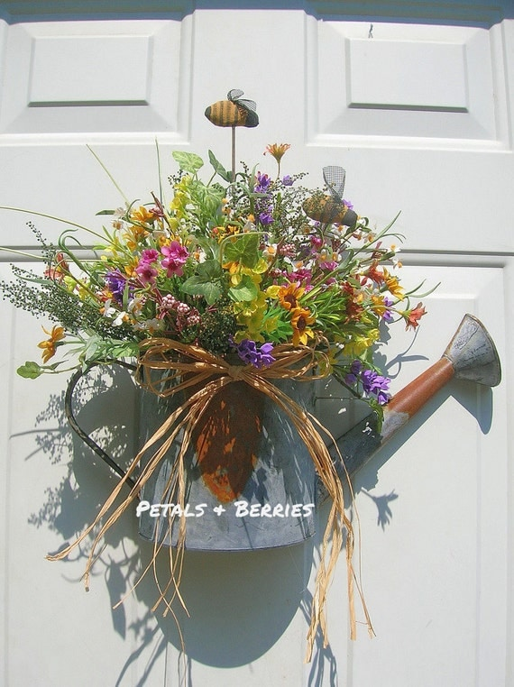 Country Rustic Floral Watering Can Door By Sandys4899florals
