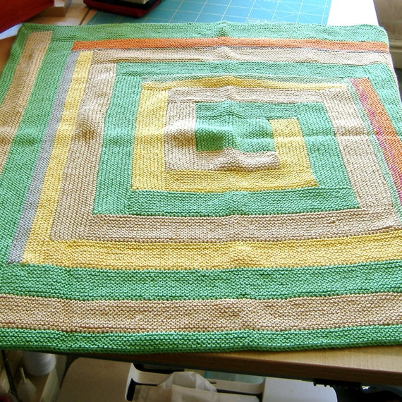 Log Cabin style hand knitted Baby Blanket Greens and