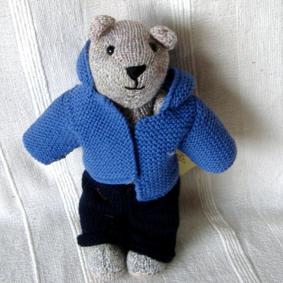 Hand Knitted Teddy Bear with clothes.