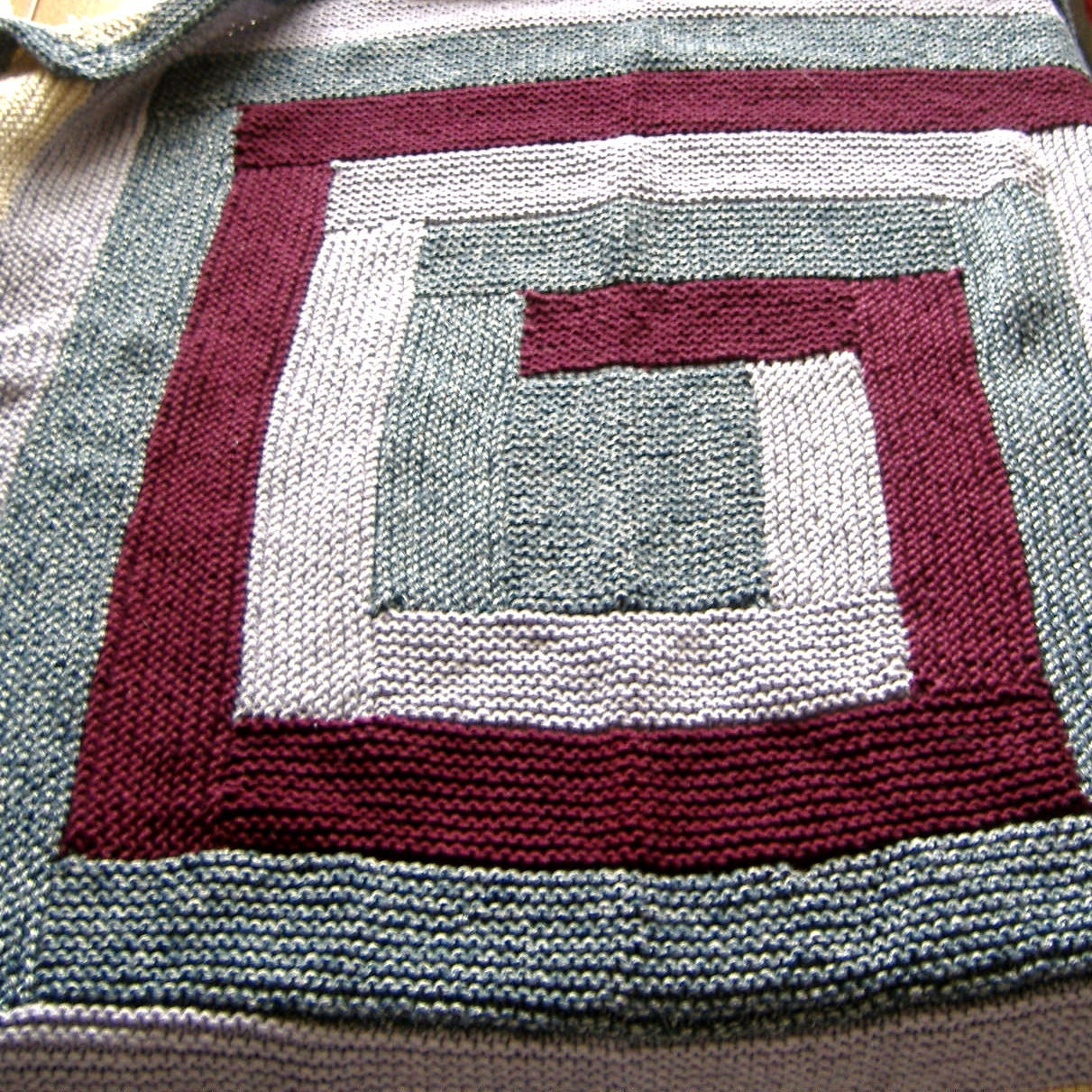Log Cabin style hand knitted Baby Blanket Warm Blue Maroon