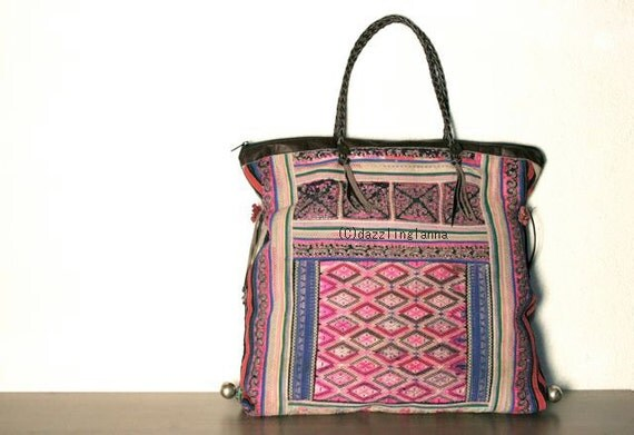 SALE - Oversized tote - Ethnic / Hip / Tribal / Hmong / Miao / Bohemian Tote - 443