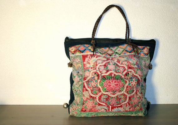 SALE 40% -Oversized tote - Ethnic / Hip / Tribal / Hmong / Miao / Bohemian Tote - 349