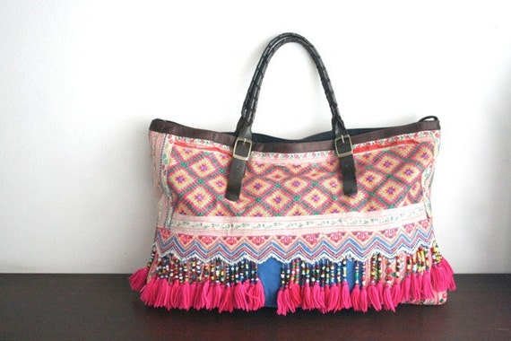 Sale 30% - 2 Ways Hmong Tote - Hip / Tribal / Hmong / Miao / Ethnic / Bohemian tote - 550