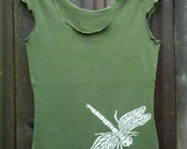 Dragonfly Tee- Women's Fashion- Cap Sleeve Olive Hand Silkscreened sizes S, M, L, XL