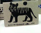 Striped Tiger Hand Silkscreened Pocket Notebook