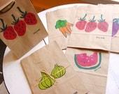Hand Printed Fruit and Veggie Paper Gift Bag Set