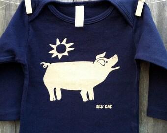 Navy Blue Pig Long Sleeve Infant Tee