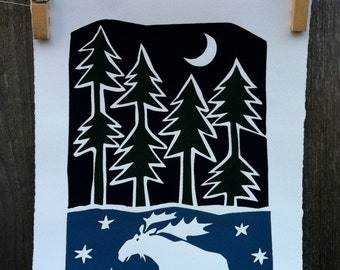 Running Moose and Pines Limited Edition Print