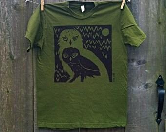 Olive Owl Twins Unisex Adult Tee