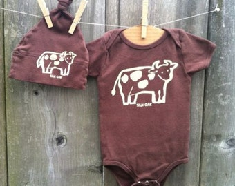 Chocolate Brown Cow Hand Silkscreened Infant One piece Romper and Hat Set