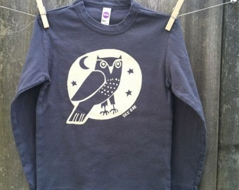 Woodland Grey Owl Hand Silkscreened Kid Long Sleeve Tee Sizes 2, 4, 6, 8, 10, 12