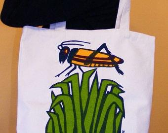 Eco Friendly Organic Cotton Grasshopper Tote Bag