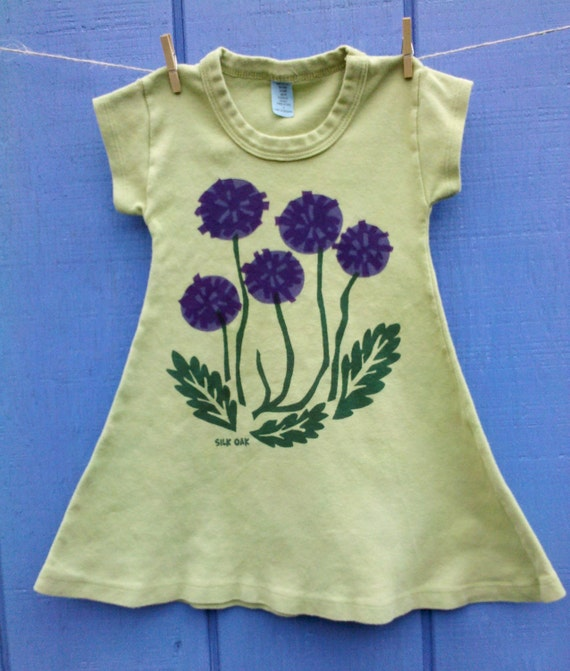 Purple Flowers on a Lime Green A-line Girl's Dress Sizes 2, 8, 10 & 12