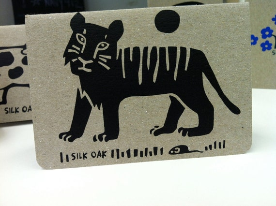 Striped Tiger Hand Silkscreened Pocket Notebook