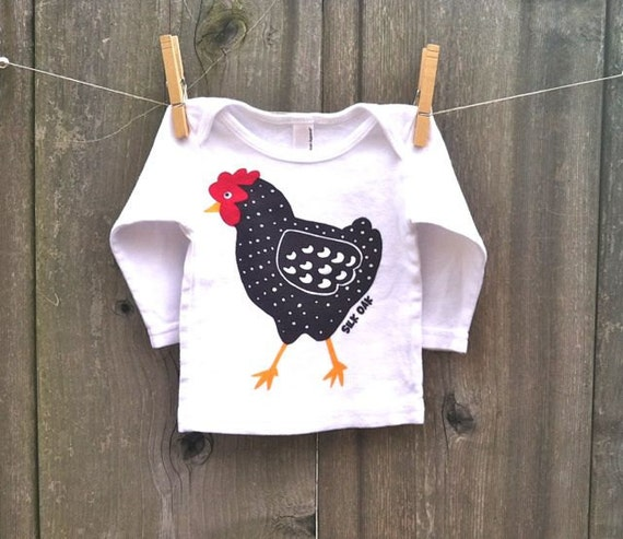 Dotty Chicken Long Sleeve Baby Tee