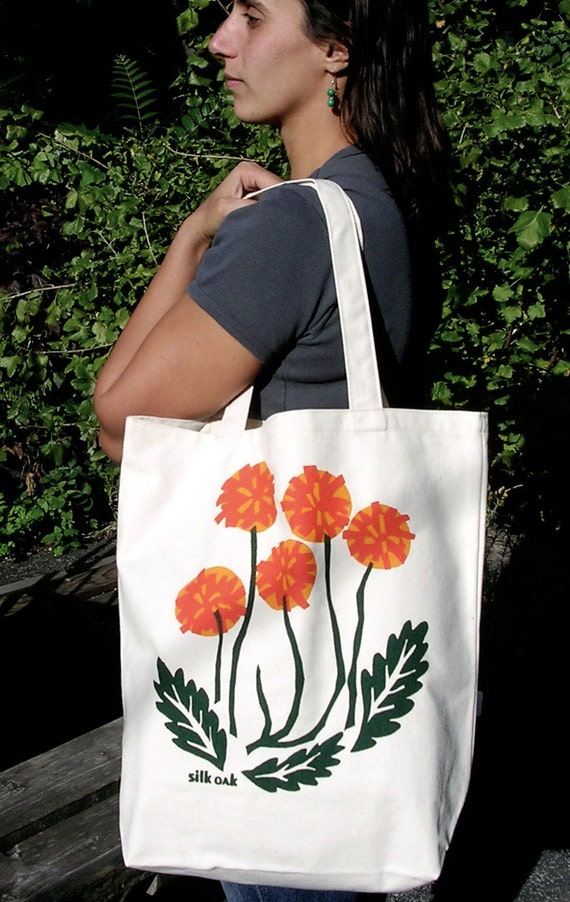 Dreaming of Spring Cotton Canvas Dandelion Tote Bag