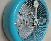 Vintage Fan Clock - Repurposed and Upcycled Wall Clock - Breeze Maker - Aqua - Mad Men
