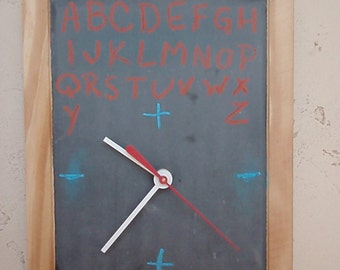 Vintage Chalkboard Clock - Recycled and Repurposed Wall Clock - School Slate - FREE SHIPPING