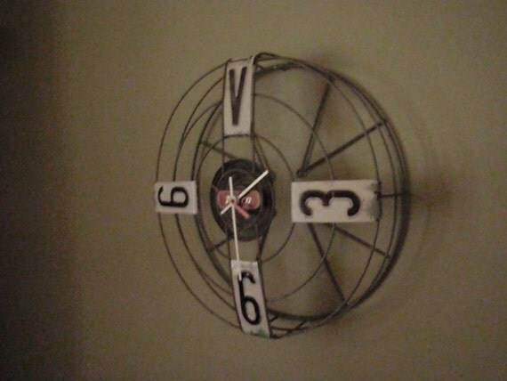 Vintage Fan Clock - Repurposed and Upcycled Wall Clock - Home Decor
