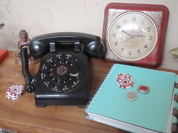 Vintage Rotary Telephone - Black - 1960s  Mad Men - Western Electric - Bell System