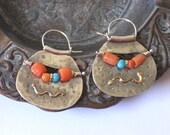 Ancient Bead Earrings, Silver Coral Earrings, Ear Piercing Hoops, Authentic Coral Beads, Mixed Metal Jewelry, Orange Earrings, Bead Earrings