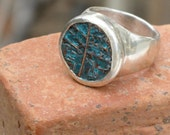 Free Shipping -Ancient Hebrew Bronze  and Sterling silver Coin Ring