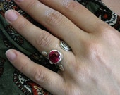 Open Ring, Open Silver Ring, Hammered Silver Ring, Marsala Ring, Crimson Zircone, Hand Crafted Ring, Facetted Stone, Contemporary Ring