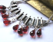 Marsala Bib Necklace-Sterling Statement Garnet Necklace-Facetted Garnet Crystals Necklace-Hammered Artisan Silver-Artisan Jewelry Necklace