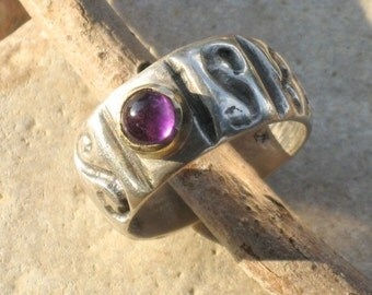 Amethyst Ring,Gemstone Silver Gold Band -Silver Gold Band Ring-February Birthston-Purple Stone Ring-Primitive Design Band