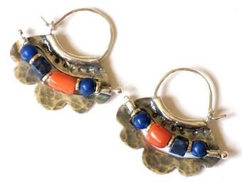 Lapis Coral Earrings, Sterling Hoops, Colorful Earrings, Silver Hoop, Lapis Earrings, Coral Earrings, Beaded Coral Earring, Silver Bead Hoop
