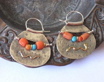 Silver Gold Hoops,  Gypsy Earrings, Large Earrings, Silver Hoops, Large Silver Hoops, Gypsy Hoop Earrings, Tribal Hoops, Beaded Earrings