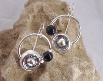 Amethyst Silver Earrings, Dangle Earrings, Amethyst Earring Drops, Hammered Silver, Gemstone Earrings, Artisan Earrings,  Purple Earrings