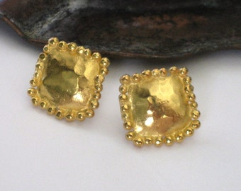 Yellow Gold Earrings, Gold Studs, Gold Plated Silver, Square Studs, Gold Over Silver, Square Ear Posts,Hammered Gold Studs,Hand Made Jewelry