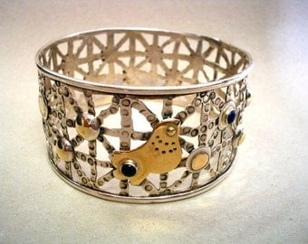 Statement Silver Gold Bangle-Mixed Metals Bangle-Sterling Gold and Stones Bangle-Handmade Hammered Bracelet-Artisan Jewelry Design