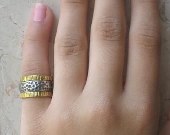 Gold Filled Ring, Gold Filled Silver Ring, Gold Filled Sterling Ring, Mixed Metals Stacking Rings, Elegant Rings, Set of 3,  Stacker Rings
