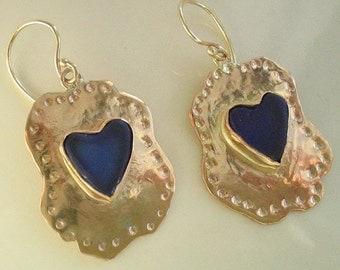 Gold Dangle Earrings, Gold Heart Earrings, Dangle Earrings, Gold Drop Earrings, Gold Blue Glass, Heart earrings, Handmade Jewelry