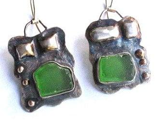 Sea Glass Earrings, Jewelry Glass Drops, Silver Sea Glass, Sterling Glass Earrings, Sea Glass Dangles, Green Beach Glass Earrings