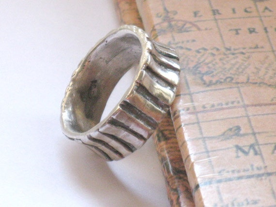 Silver Ring Band, Boho Wedding Ring, Rustic silver Band, Silver Rings for Women,  Artisan Jewelry Ring, Solid Silver Ring